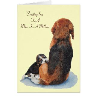 cute beagle puppy dog versed mum greeting card