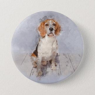 Cute Beagle Watercolor Portrait 7.5 Cm Round Badge