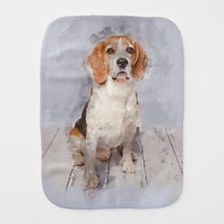 Cute Beagle Watercolor Portrait Burp Cloth