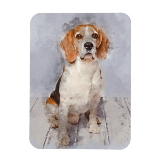 Cute Beagle Watercolor Portrait Magnet