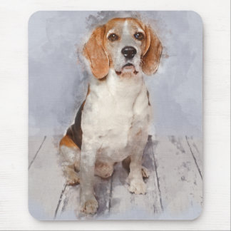 Cute Beagle Watercolor Portrait Mouse Mat