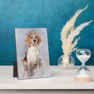 Cute Beagle Watercolor Portrait Plaque