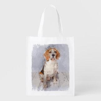 Cute Beagle Watercolor Portrait Reusable Grocery Bag