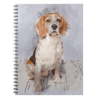 Cute Beagle Watercolor Portrait Spiral Notebook