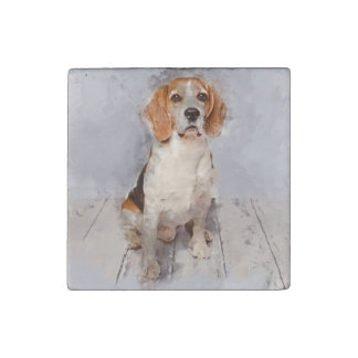 Cute Beagle Watercolor Portrait Stone Magnet