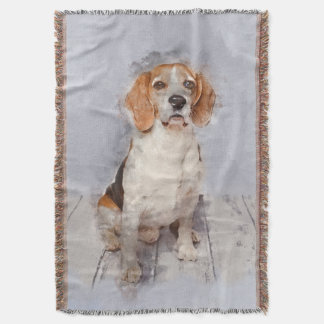 Cute Beagle Watercolor Portrait Throw Blanket