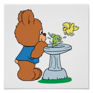 Cute Bear and Bird Bath Design Poster