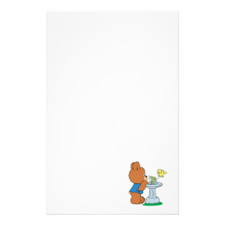 Cute Bear and Bird Bath Design Stationery Paper