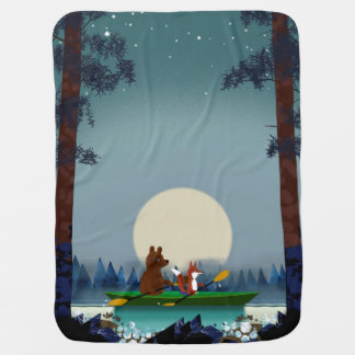 Cute Bear and Fox kayaking on a wild forest river Baby Blanket