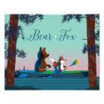 Cute Bear and Fox kayaking on a wild forest river Photo Art