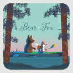 Cute Bear and Fox kayaking on a wild forest river Square Sticker