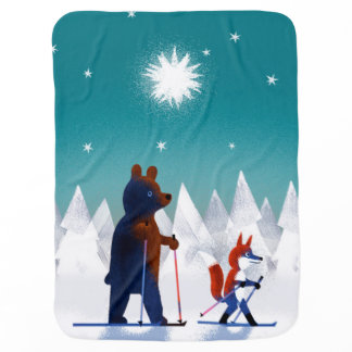 Cute Bear and Fox skiing under stars in a forest Buggy Blankets