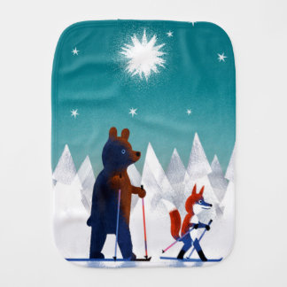 Cute Bear and Fox skiing under stars in a forest Burp Cloths