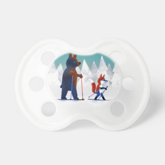 Cute Bear and Fox skiing under stars in a forest Dummy