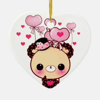 Cute bear and pink balloons - Happy Valentine Ceramic Heart Decoration