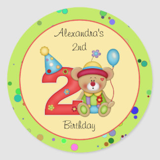 Cute Bear Birthday Party Sticker Age 2