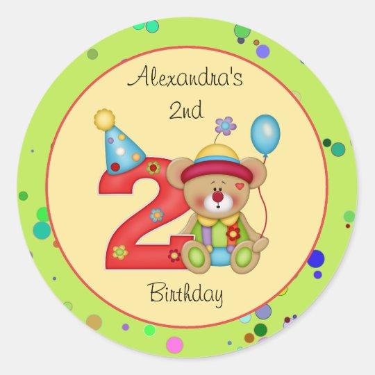 Cute Bear Birthday Party Sticker Age 2