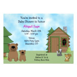 Cute Bear & Cabin Baby Shower Invitation for Girls