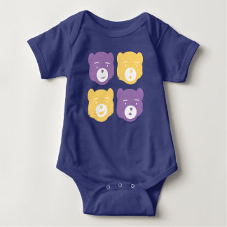 Cute Bear Characters Baby Bodysuit
