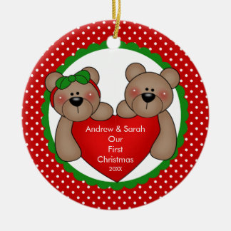 Cute Bear Couple Our First Christmas Ornament