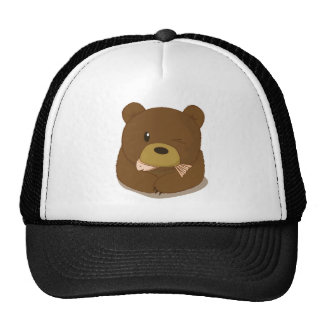 Cute Bear eating fish Mesh Hats