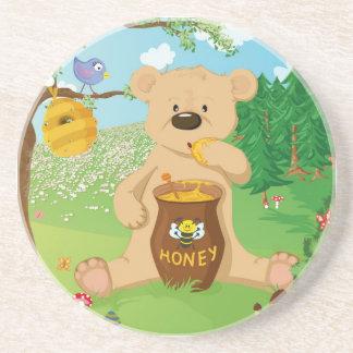 Cute bear eating honey coaster