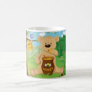 Cute bear eating honey coffee mug