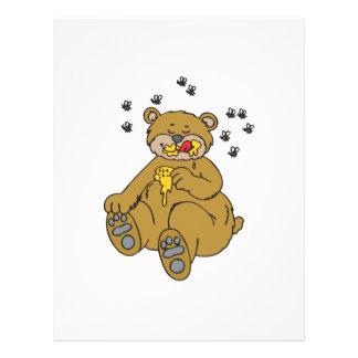 cute bear eating honey flyer design