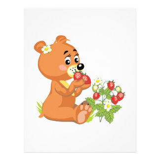 cute bear eating strawberries flyers