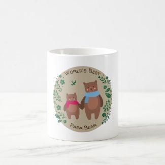 cute bear floral typography world's best papa bear coffee mug