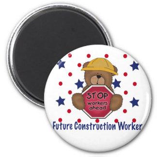 Cute Bear Future Construction Worker 6 Cm Round Magnet
