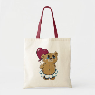 Cute Bear Holding Heart Balloon Bag