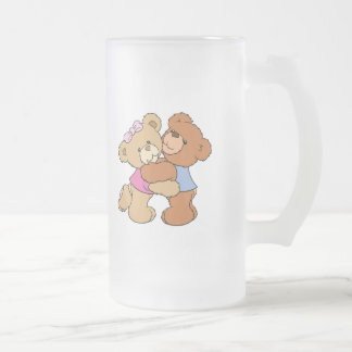 Cute Bear Hug Bears Frosted Glass Beer Mug