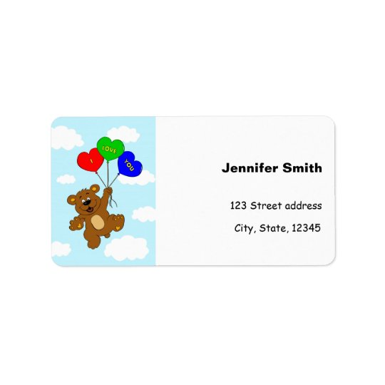 Cute bear in love address labels