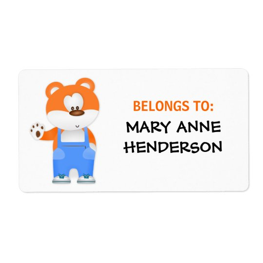 Cute Bear in Overalls Kid's Custom Name ID