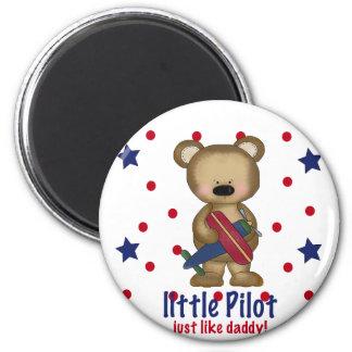 Cute Bear Little Pilot just like Daddy! 6 Cm Round Magnet