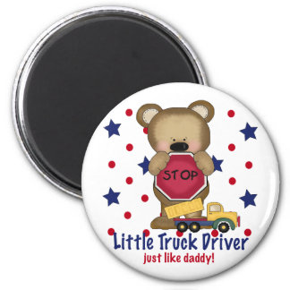 Cute Bear Little Truck Driver just like Daddy! 6 Cm Round Magnet