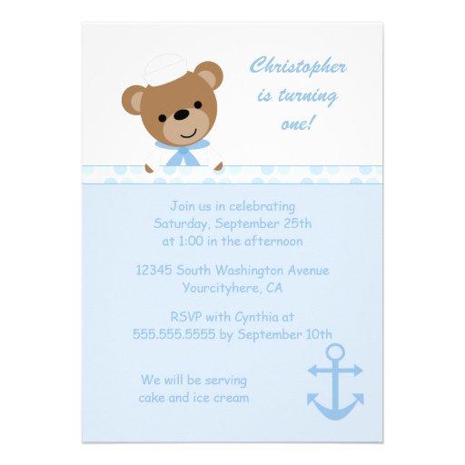 Cute bear sailor boy's birthday party invitation