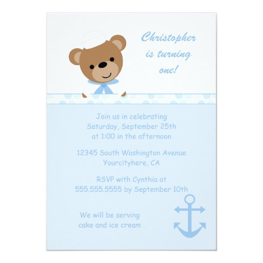 Cute bear sailor boy's birthday party invitation