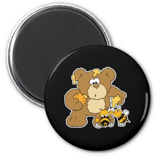 Cute Bear Stealing Honey Magnets