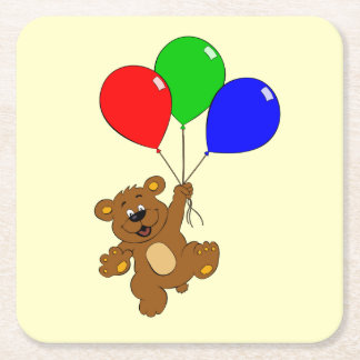 Cute bear with balloons cartoon coasters square paper coaster