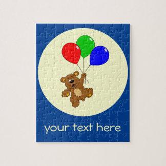 Cute bear with balloons cartoon custom kids puzzle