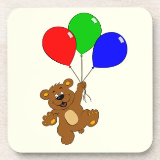 Cute bear with balloons cartoon kids coaster