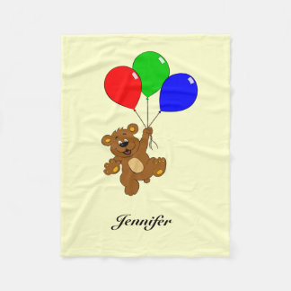 Cute bear with balloons cartoon kids name blanket