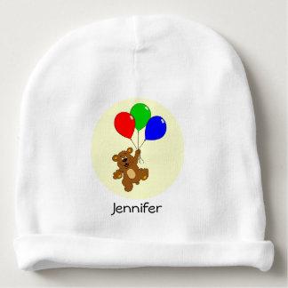Cute bear with balloons cartoon name baby beanie