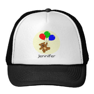 Cute bear with balloons cartoon name hat