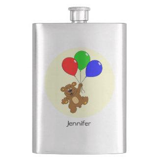 Cute bear with balloons cartoon name kids flask