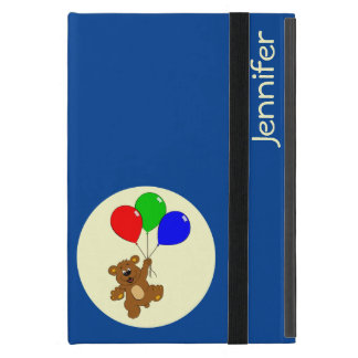 Cute bear with balloons cartoon name kids iPad mini case