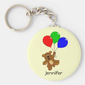 Cute bear with balloons cartoon name kids keychain