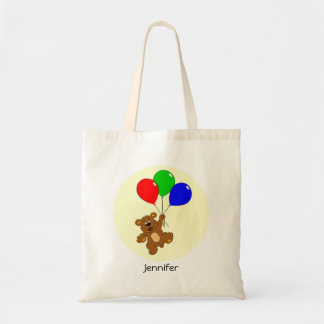 Cute bear with balloons cartoon name tote